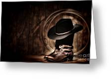 Moonlight Cowboy Greeting Card by Olivier Le Queinec