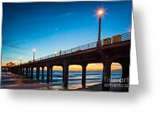 Moonlight Pier Greeting Card by Inge Johnsson