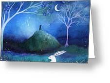 Moonlite And Hare Greeting Card by Amanda Clark