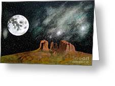 Moonrise Over Sedona Greeting Card by John Lyes