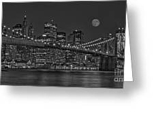 Moonrise Over The Brooklyn Bridge Bw Greeting Card by Susan Candelario