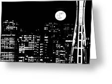 Moonrise Seattle Greeting Card by Benjamin Yeager