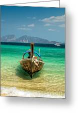 Moored Longboat Greeting Card by Adrian Evans