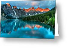 Moraine Lake Sunrise Greeting Card by James Wheeler