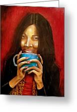 Morning Coffee Greeting Card by Michael Alvarez