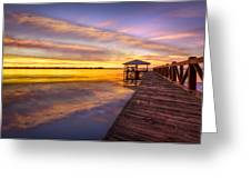 Morning Dock Greeting Card by Debra and Dave Vanderlaan