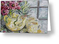 Morning Tea For Two Greeting Card by Eloise Schneider