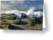 Morning Tide In La Jolla Greeting Card by Sandra Bronstein