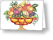 Mosaic Fruit Vase Greeting Card by Irina Sztukowski