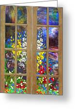 Mosaic Stained Glass - Flower Garden Greeting Card by Catherine Van Der Woerd