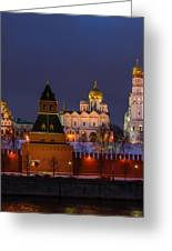 Moscow Kremlin Cathedrals At Night - Square Greeting Card by Alexander Senin