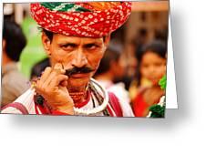 Mostach Man Greeting Card by Money Sharma