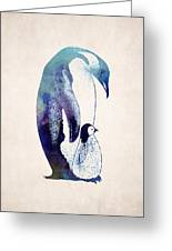 Mother And Baby Penguin Greeting Card by World Art Prints And Designs