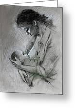 Mother And Baby Greeting Card by Viola El