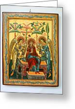 Mother Of God In Heaven With The Archangels Hand Painted Holy Orthodox Wooden Icon Greeting Card by Denise Clemenco