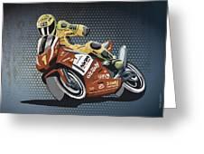Motorbike Racing Grunge Color Greeting Card by Frank Ramspott