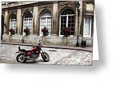 Motorcycle In Old Montreal Greeting Card by John Rizzuto