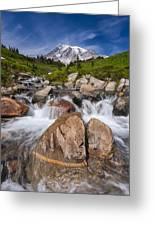 Mount Rainier Glacial Flow Greeting Card by Adam Romanowicz