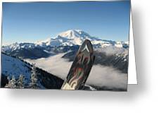 Mount Rainier Has Skis Greeting Card by Kym Backland