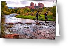 Mountain Bikers Crossing Cathedral Falls Greeting Card by Linda Pulvermacher