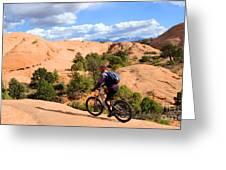 Mountain Biking Moab Slickrock Trail - Utah Greeting Card by Gary Whitton