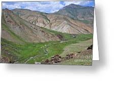 Mountain Landscape In The Tash Rabat Valley Of Kyrgyzstan Greeting Card by Robert Preston