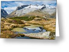 Mountain Landscape Water Reflection Swiss Alps Greeting Card by Matthias Hauser