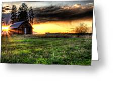 Mountain Sun behind Barn Greeting Card by Derek Haller