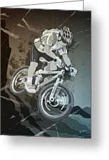 Mountainbike Sports Action Grunge Monochrome Greeting Card by Frank Ramspott