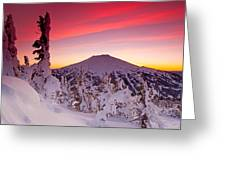 Mt. Bachelor Winter Twilight Greeting Card by Kevin Desrosiers