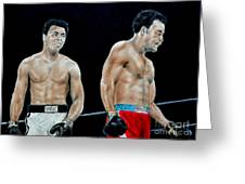 Muhammad Ali Vs George Foreman Greeting Card by Jim Fitzpatrick