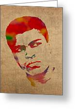 Muhammad Ali Watercolor Portrait On Worn Distressed Canvas Greeting Card by Design Turnpike