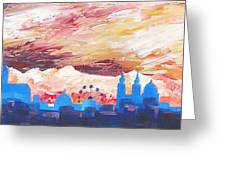 Munich Skyline At Dusk With Alps Greeting Card by M Bleichner