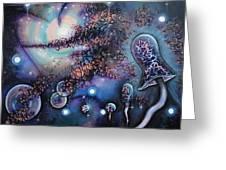 Mushroom Evolution Greeting Card by Krystyna Spink