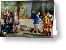 Music - Mummers Preperation Greeting Card by Mike Savad