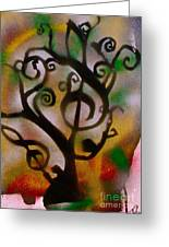 Musical Tree Golden Greeting Card by Tony B Conscious