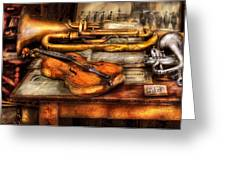 Musician - Horn - Two Horns And A Violin Greeting Card by Mike Savad