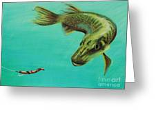 Muskie And The Lure Greeting Card by Jeanne Fischer