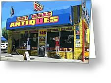 My Favorite Vegas Antique Store Greeting Card by John Malone