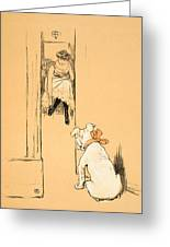 My Mistress Dressing Greeting Card by Cecil Charles Windsor Aldin