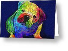 My Psychedelic Bulldog Greeting Card by Jane Schnetlage