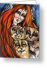 My Three Cats Greeting Card by Angel  Tarantella