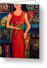 My World In The Art Greeting Card by Deyanira Harris