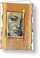 Mysterious Girl Face Portrait - Painting On The Wood Greeting Card by Nenad  Cerovic