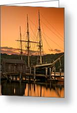 Mystic Seaport Sunset-joseph Conrad Tallship 1882 Greeting Card by Thomas Schoeller