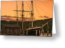 Mystic Seaport Sunset-Joseph Conrad tallship 1882 Greeting Card by Thomas Schoeller