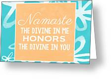 Namaste Watercolor Flowers- Blue Greeting Card by Linda Woods
