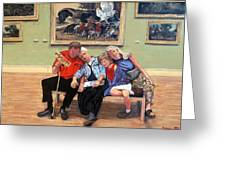 Nap Time At The Louvre Greeting Card by Tom Roderick
