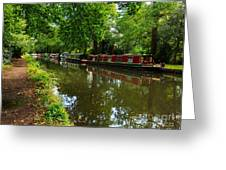 Narrowboats Moored On The Wey Navigation In Surrey Greeting Card by Louise Heusinkveld