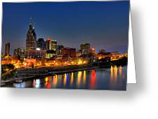 Nashville Lit Up Greeting Card by Zachary Cox